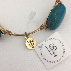 Bourbon and Bow ties Turquoise & Gold Bracelet NWT